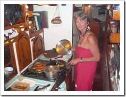 Gwen cooks dinner on the smokeless grill