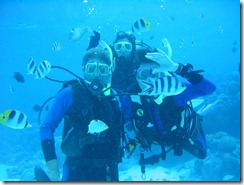 Gwen diving with friends