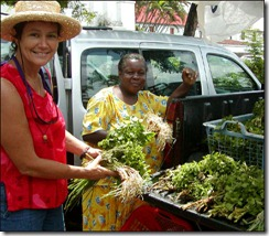 Kathy doing research in the markets of Martinique