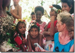Sally taping the local children in the Solomon islands