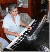 Yvonne playing bach on new piano
