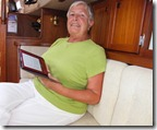 Carolyn O'Briean with her Kindle e-book reader