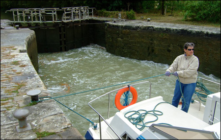 Ellen Sanpere cruising France's canals on a charter boat