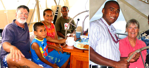 30 years later: Bryan with Esita and her family onboard. Judy with Tevita (David) the chief's son.