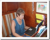 Kathy Parsons uses wifi aboard