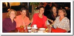 Beth Leonard, Ellen Sanpere, Kathy Parsons, Pam Wall, and Debbie Leisure at dinner the night before the Women and Cruising Seminar; Photo: Barbara Dahn