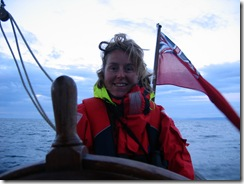 Kath at the helm, COLD!