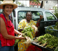 Kathy shopping in the market - Fort de France, Martinique