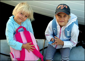Lola and Jana setting off to school in Whangarei, NZ