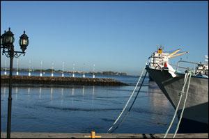 Note the receeding water on the marina breakwater