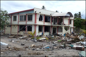 Tsunami damage on the south coast of Upolu Island, Samoa  (Photo: Jill Josselyn)