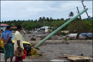 Tsunami damage on the South coast of Upolu Island, Samoa – (Photo: Jill Josselyn)