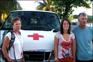 Our crew, Jill, Molly and Roy volunteer at Red Cross