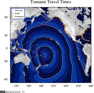 Samoa Tsunami travel times (NOAA Pacific Tsunami Warning Center)