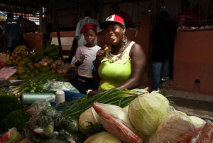 Vendors in the Castries, St. Lucia, market