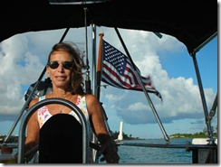 Pam Wall at helm