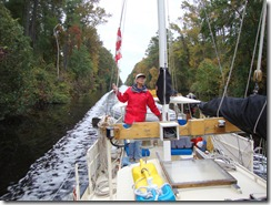 Ruth at the helm, Dismal Swamp Canal
