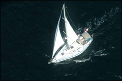 Aerial photo of Livia Gilstrap single-handing