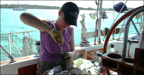 Marcie servicing the winches in Panama