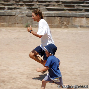 Another inspirational way to kick off a learning unit: the author and her son race in ancient Delphi's stadium, Greece.