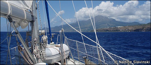 Approaching Martinique's extinct volcano, Mt Pelé, under sail.