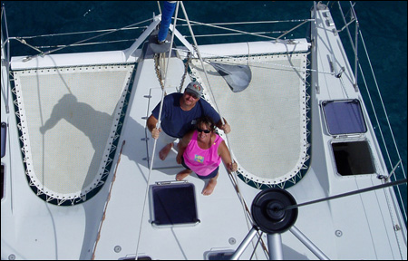 Tom and Barbara Theisen, aboard OUT OF BOUNDS
