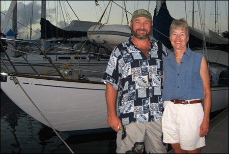 Among the first timers we interviewed were Linda and Steve Maggart on their Rhodes 40. Their biggest fear had been storm force winds.