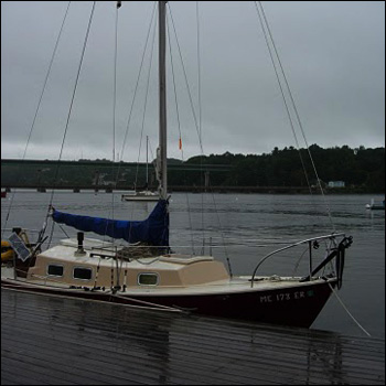 Our sloop, Mama Tried, ready to ride out the storm at Thompson's Wharf in Belfast, Maine.