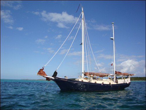 At anchor at Whale Cay in the Berrie Islands