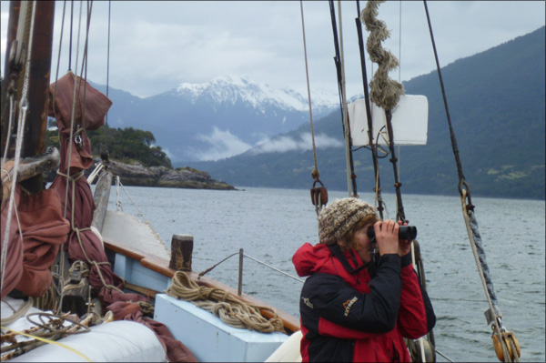 Katharine Lowrie surveying in Reloncavi, Chile