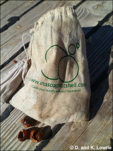 Soap nuts in organic cotton bag