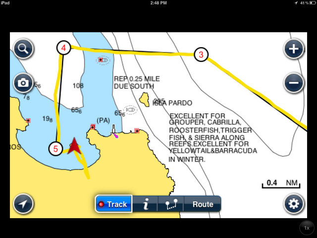 iPad Navionics app being used to navigate into Ensenada Blanca, Baja Sur, Mexico