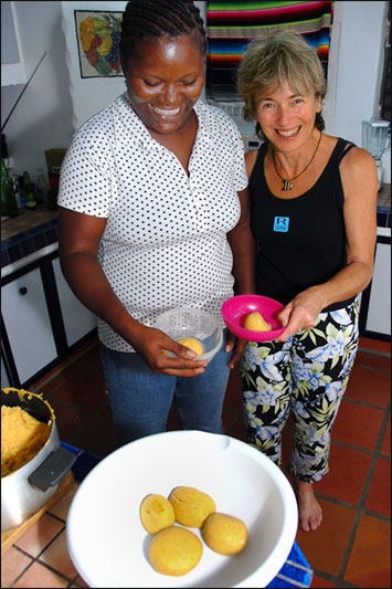 Ann Vanderhoof is learning to roll coo-coo on Carriacou