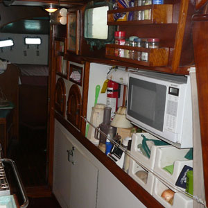 Galley aft inboard shelf