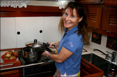 Amanda Swan Neal in her galley