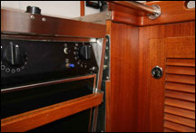 Stove lock off in Mahina Tiare galley