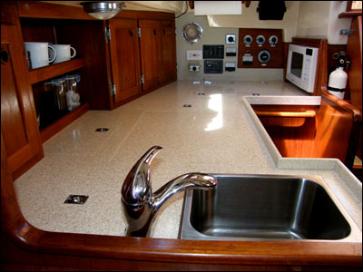 Wind Borne III's galley refitted